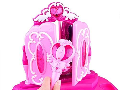 Frisiertisch Schminkkommode Schminktisch Schminkstudio Kinderschminktisch Set mit Spiegel und Hocker - 6