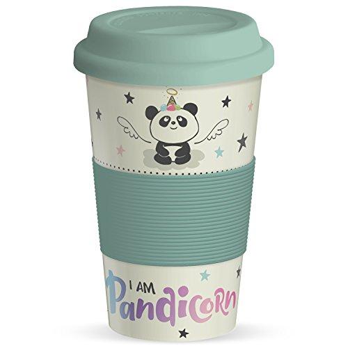 Hope & Gloria to Go Gobelet I Am Pandi Corn Motif Panda avec Couvercle en Silicone et wärms chutz, 40 cL, Bambou, Multicolore, 9 cm