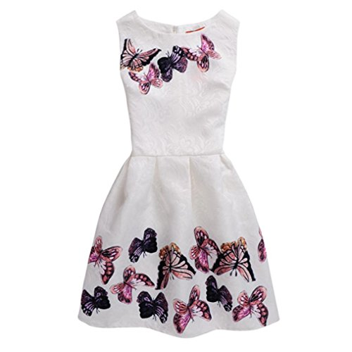 Girl's Dress,OSYARD Summer Dresses Sleeveless Butterfly Printed Princess Dress Children Kids Outfits Clothes