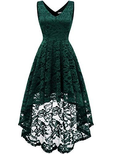 MuaDress 6666 Damen Ärmellose Hi-Lo Lace Formel Brautjungfernkleid Cocktail Party Kleid mit V-Ausschnitt Grün M (Kurze Frauen Für Formale Kleider)