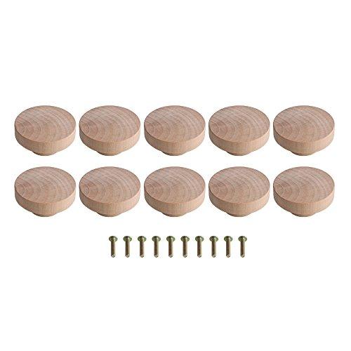 BQLZR Accesorio para el hogar, 50 x 25 mm, madera de color Superba, perillas redondas para armario, cajón, zapatero, armario, puerta, paquete de 10