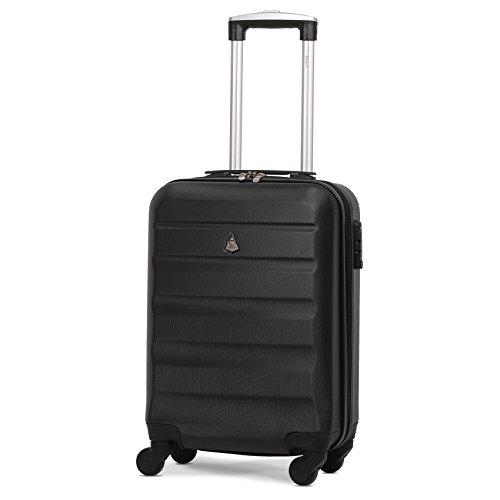 Aerolite ABS Hartschale 4 Rollen Leichtgewicht Handgepäck Kabinenkoffer mit eingebautem TSA Schloss, Genehmigt für Ryanair, British Airways & viele Mehr, 3 Teiliges Kofferset, Schwarz - 2