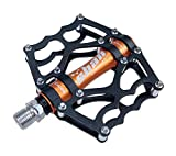 Evetin Ultra Light Flat Trekking Rennrad Fahrrad Pedale Fahrradpedale Anti-Rutschpedale CA120 (Schwarz mit Orange)