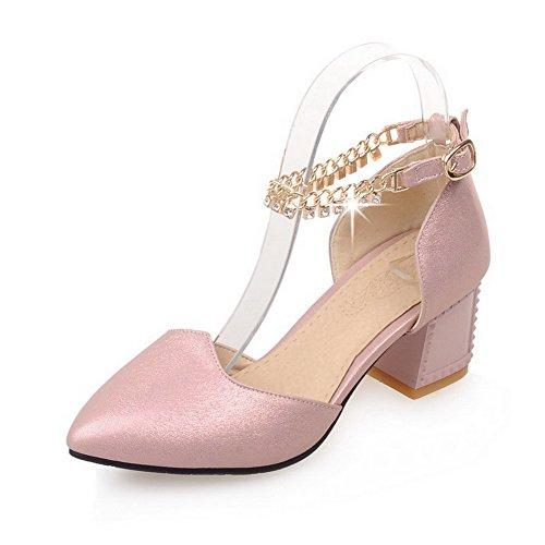 AllhqFashion Damen Spitz Zehe Mittler Absatz Eingelegt Schnalle Pumps Schuhe Pink
