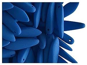 Tschechische Glasperlen Dagger Beads ESTRELA NEON (UV aktiv) 15 x 5 mm blau, 30 Stück