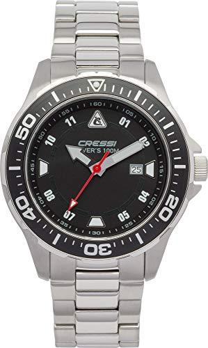 Cressi Manta Watch Reloj Submarino, Plata/Negro/Correa de Acero INOX, Uni