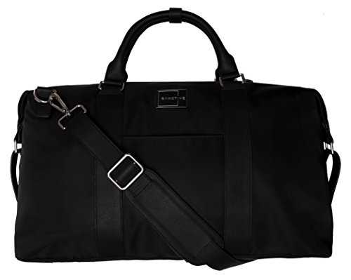 SANCTIVE Weekender Tasche Herren und Damen Reisetasche   Weekend Bag Business mit Leder Stripes   Reise Handgepäck   30l, schw...