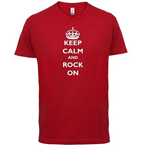 Keep calm and Rock On - Herren T-Shirt - 13 Farben Rot