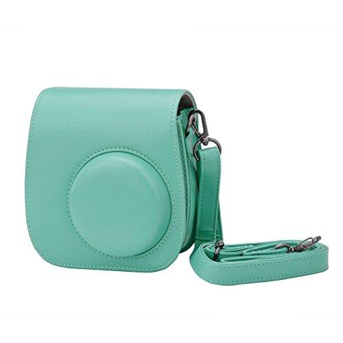 LEDMOMO Schultertasche Kameratasche Schutzhülle Pu-leder Kamera Zubehör Tasche für Fujifilm Instax Mini 8/8 + / 9 Instant Kamera (Hellblau)