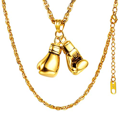 PROSTEEL 18k vergoldet Herren Halskette Boxhandschuhe Anhänger mit 55+5cm Kette Boxing Handschuhe Collier Sportlich Modeschmuck Geschenk für Männer Frauen