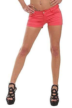10021 Fashion4Young Damen Sexy Stretch-Denim Hotpants Short kurze Hose verfügbar in 5 Gr. 6 Farben (S = 36, Coral)