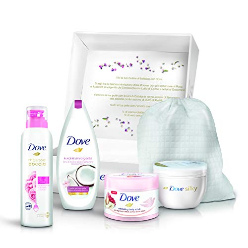 Dove confezione regalo routine di bellezza donna con mousse doccia 200ml, body scrub esfoliante 225 ml, dove docciaschiuma 250 ml, crema corpo silky 300 ml & beauty bag