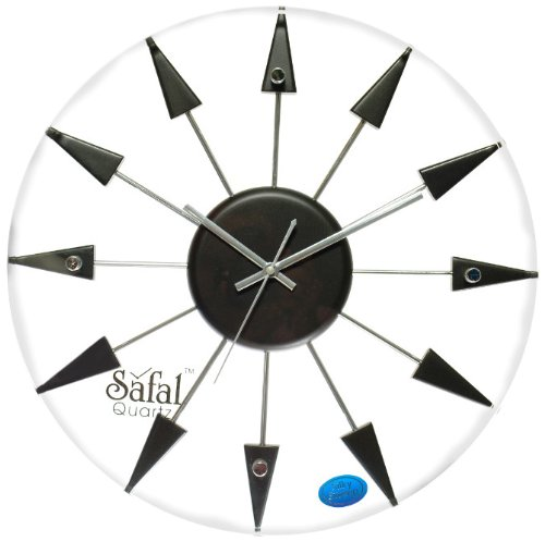 Safal Wooden Wall Clock (40.64 cm x 40.64 cm, Black, SQ 1011)
