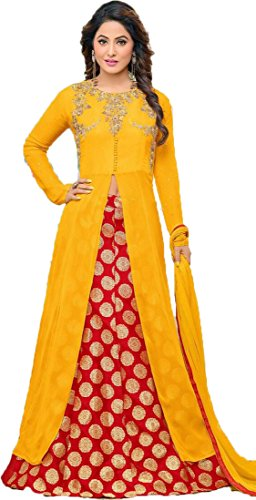 FKART Women's Georgette Embroidered Semi-stitched Salwar Suit (25_Yellow_Free Size)