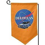 Bandiera del Giardino della NASA Delorean a Doppia Faccia, Patio Decorativo del Prato Inglese del Cortile delle Piccole Bandiere di Festa all'aperto 12.5 * 18 in