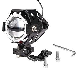 2x faros de motocicleta con luces de ojos de ángel DRL luces de conducción de niebla para automóviles Barco de bicicleta Reflectores delanteros de ATV alta/baja/estroboscópica 6500K Interruptor
