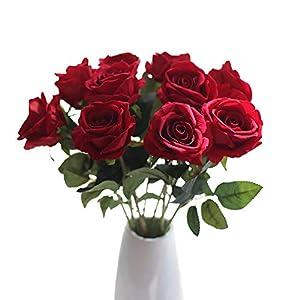 Ramo nupcial de rosas artificiales de seda para decoración de banquetes en el jardín de casa