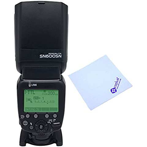 Shanny SN600SN Maestro Flash Speedlight sincronización de alta velocidad 1/8000s GN60Disparador De Flash Para Nikon D7100, D7000, D5300, D5200, D5100, D5000, D3000, D3100, D3200, D3300, D810, D800, D800E, D750, D800, D700, D300s, D300, D200, D90, D80, D3como SB-910+ Mcoplus paño de