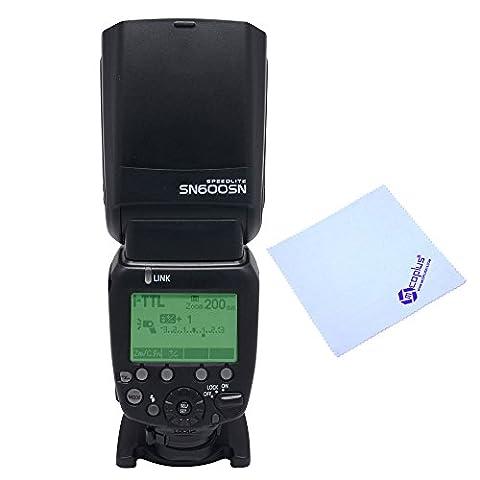 Shanny SN600SN Speedlight Blitzlicht mit High-Speed-Synchronisation 1/8000s, GN60Blitzlicht für Nikon D7100, D7000, D5300, D5200, D5100, D5000, D3000, D3100, D3200, D3300, D810, D800, D800E, D700, D750, D610, D600, D300s, D300, D200, D90, D80, D3 als SB-910+ Mcoplus-Reinigungstuch