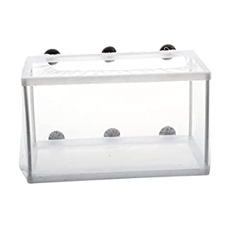 SODIAL(R) Fish Tank Plastic Frame White Net Fry Hatchery Breeder with Suction Cups 16