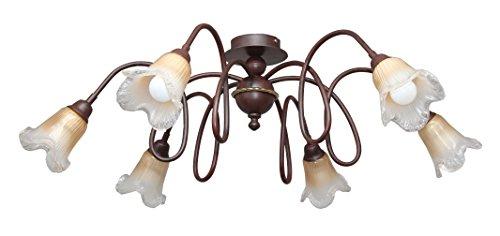 valfb35117PL6Doge 2Made in Italy Deckenleuchte Deckenleuchte Schmiedeeisen schwarz/rost Glas Murano Bernstein-Innenbeleuchtung hergestellt von Valastro Beleuchtung - Bernstein Metall-stehlampe