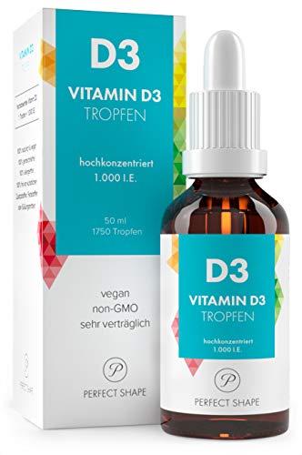 Vitamin D3 Tropfen, 1000 ie für ein Gesundes Immunsystem, Natürlich Pflanzlich Vegan 50 ml Hochdosiert, Deutsches Qualitätsprodukt von PERFECT SHAPE -