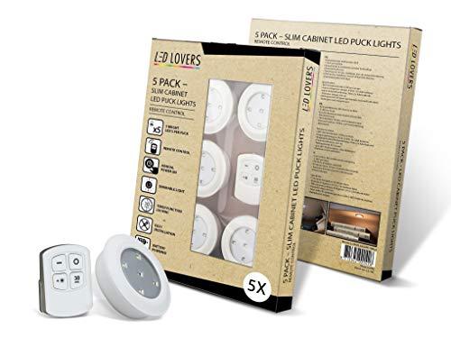 LED LOVERS LED Einbaustrahler mit Fernbedienung für Küche, Treppen und Schränke, programmierbare Einbauspots Ø 8.9 cm, batteriebetriebenes Einbauleuchten-Set mit Timer und Dimmfunktion