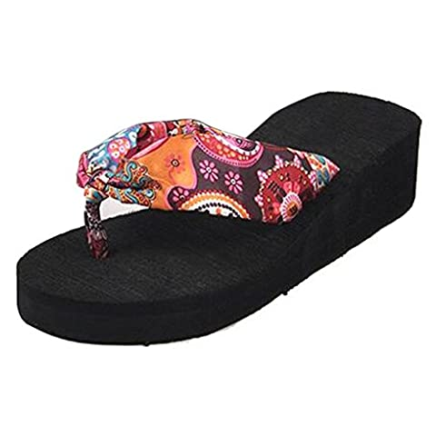 TOOGOO(R) Summer bohemia flower Women flip flops platform wedges women sandals platform flip slippers beach shoes size 6