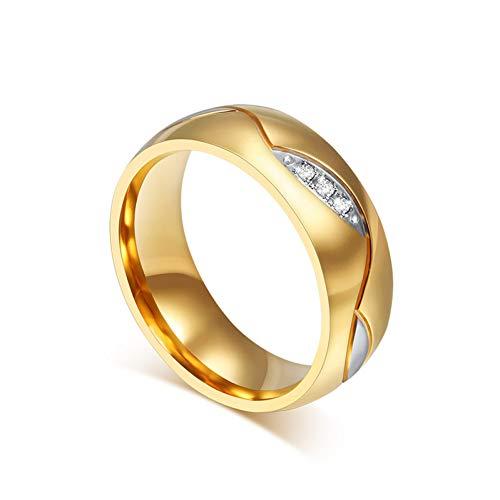 YZHDDJ Klassische Paar Ringe Für Liebhaber Zirkonia Ehering Gold-Farbe Edelstahl Anel Schmuck 6