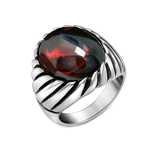 YANIBB Mens Titanstahlring Gothic Vintage Juwel mit Onyx/Red Stone Band Ring Silber (Stone Red Vintage-ring)