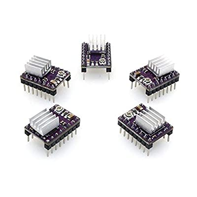 PoPprint DRV8825 Stepper Motor Driver Module 4-Layer with Mini Heat Sink for 3D Printer RP1.4 A4988(Pack of 5pcs)