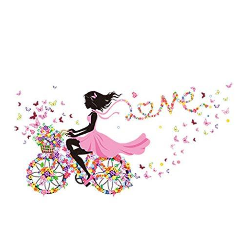 La Vie Adesivi Murali Fatina Danzante con Fiori e Farfalle Adesivi Colorati per la Camera dei Bambini o Stanza dei Bambini Sticker Decorazione per Ragazze