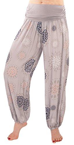 Fashion You Want Damen Sommerhose Pumphose Haremshose mit Blumenmuster Flower (42/44, grau)