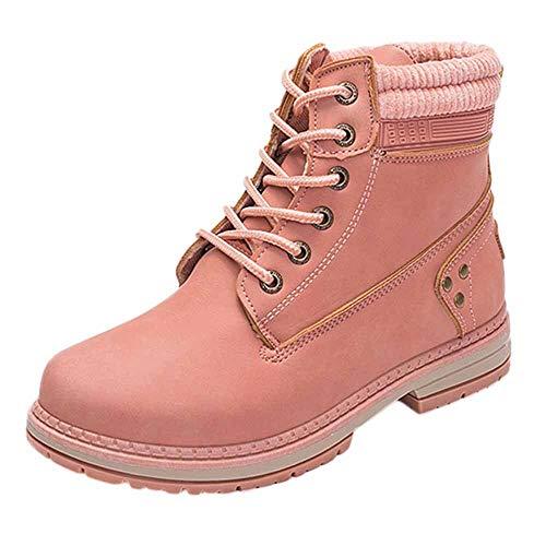 Preisvergleich Produktbild TianWlio Damen Stiefel Stiefeletten Frauen Feste Schnürstiefel Beiläufige Stiefeletten Runde Zehe Schuhe Student Schnee Aufladungen
