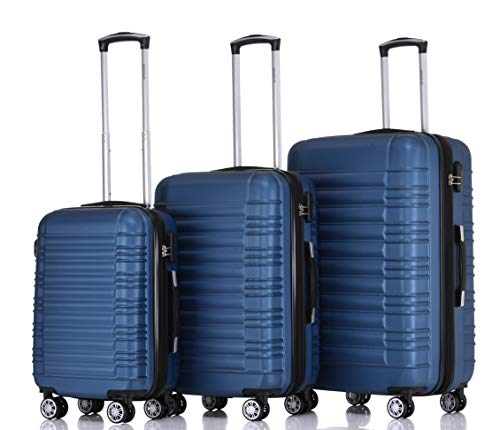BEIBYE 2088 Zwillingsrollen Reisekoffer Koffer Trolleys Hartschale M-L-XL-Set in 13 Farben (Blau, Set)