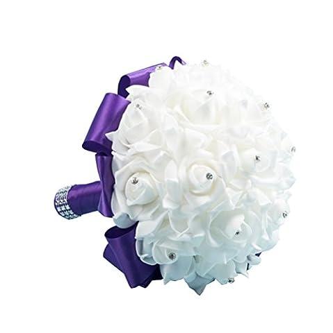 Hosaire Bride Flowers Bridesmaid Bouquet Foam Rose Crystal Wedding Girl Wand Decor Purple