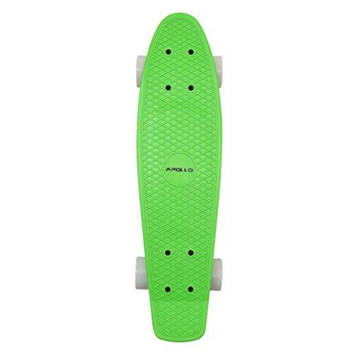 Deck Boards (Apollo Fancy SkateBoard, Vintage Mini Cruiser, Komplettboard, 22.5inch (57,15 cm), Mini-Board mit Holz oder Kunstsoff Deck mit und ohne LED Wheels, Farbe: Neon Grün / Weiss)