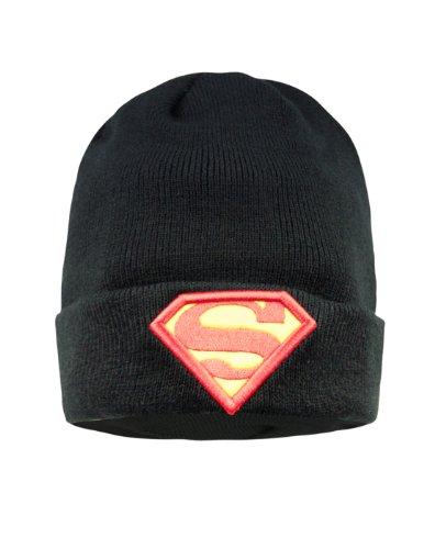 Superman Logo Strick Mütze Beanie DC Comics lizenziert doppellagig mit aufgenähten Logos schwarz - Dc-mütze