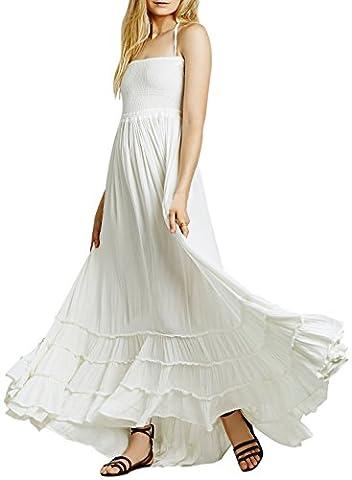 Long White Halter Dress - ACHICGIRL Casual Solid Halter Backless Maxi Dress,