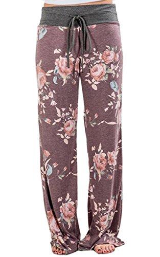 Angashion Damen Blumenmuster Weite Bein Lange Hose Violett0447 M