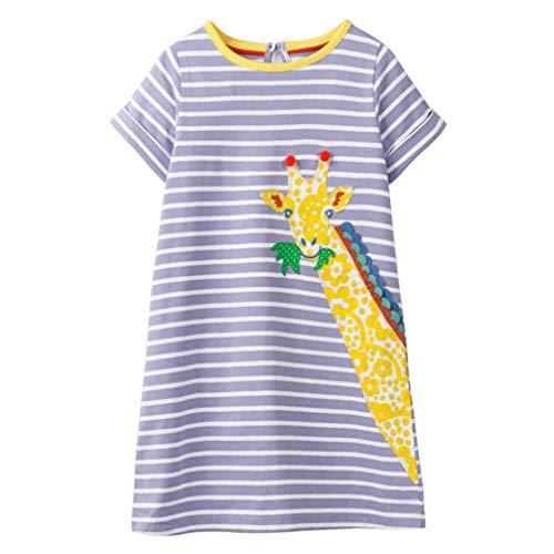 Mädchen Baumwolle Kurze Ärmel Kleid Lässiger süßer Drucken T-Shirt Kleid 1-7 Jahre (2-3 Jahre, Giraffe) -