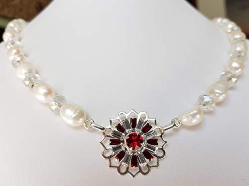 Collana principessa con perle barocche e cristalli e medaglione in cristalli rosso