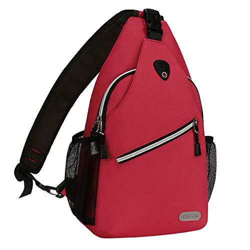 MOSISO Brusttasche Sling Rucksack Schultertasche, Polyester Crossbody Umhängetasche Sporttasche Kompatibel Herren Damen Mädchen Jungen Reise Daypack, Rot - Schulter-rucksack