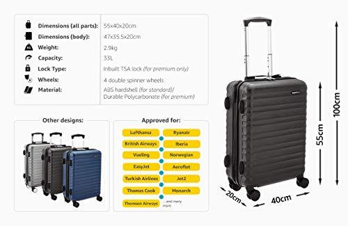 a54e9f892e AmazonBasics - Trolley rigido utilizzabile come bagaglio a mano, approvato  da Ryanair e dalla maggior