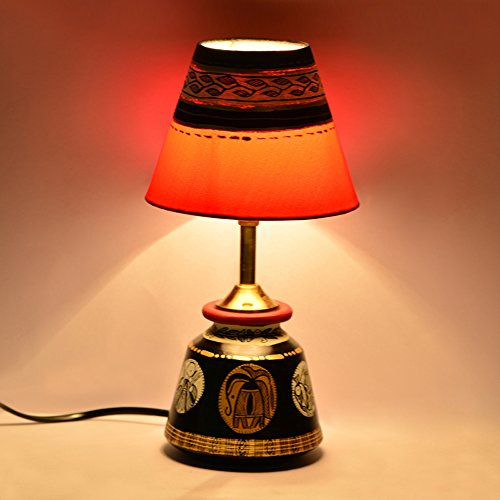 Exclusivelane 12 Inch Madhubani Terracotta Handpainted Table Lamp Home Decorative Night Lamp for Living Room _ Gift Items  available at amazon for Rs.1470
