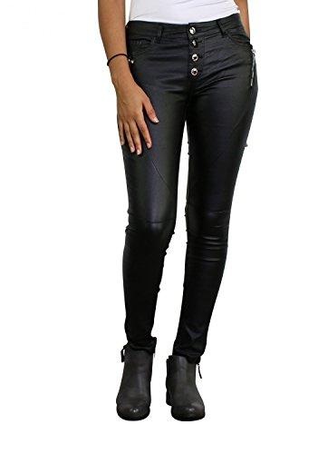 Damen Kunstlederhose Röhrenjeans Leder-Optik Hüfthose Damenjeans Hüftjeans Skinny ( Röhre Nr: 408 ), Grösse:38, Farbe:Schwarz