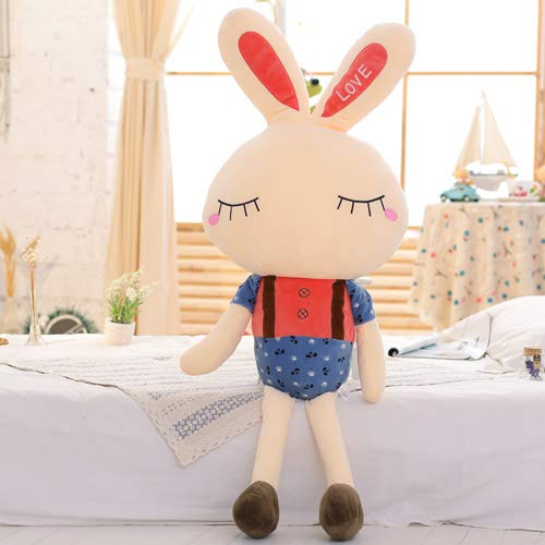 PANGDUDU Weißes Kaninchen Plüschtier Kaninchen Großer Rock Kaninchen Puppe Mädchen Puppe Kind Schlafkissen Niedlich, Rote Hosenträger, 80Cm