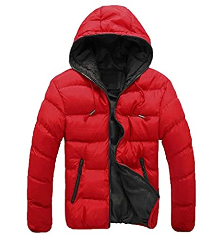 EKU Men's Zipper Hoodie Quilted Solid Hit Color Down Jacket Coat 2XL Red