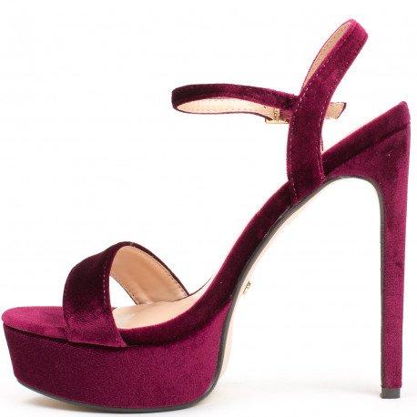 Ideal Shoes - Sandales effet velours Helena Bordeaux