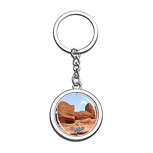 Schlüsselbund Wupatki National Monument Flagstaff Vereinigte Staaten USA US Schlüsselbund Kristall Drehen Rostfreier Stahl Schlüsselbund Andenken Schlüsselanhänger